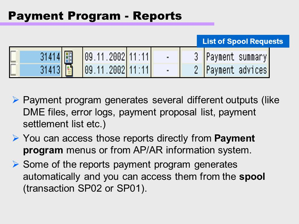 Payment Program - Reports