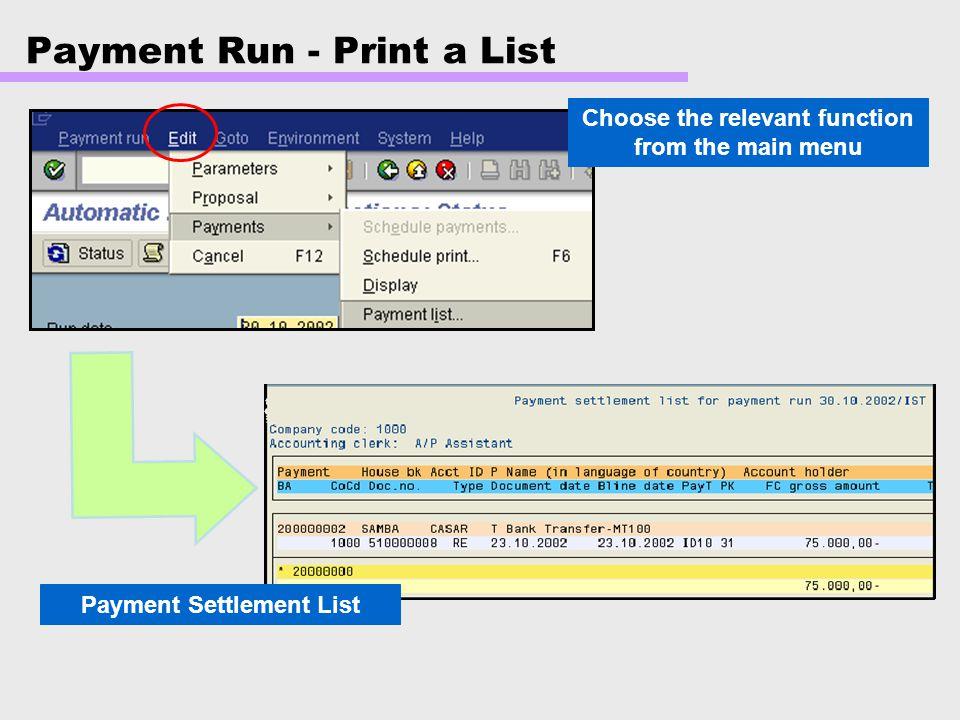 Payment Run - Print a List