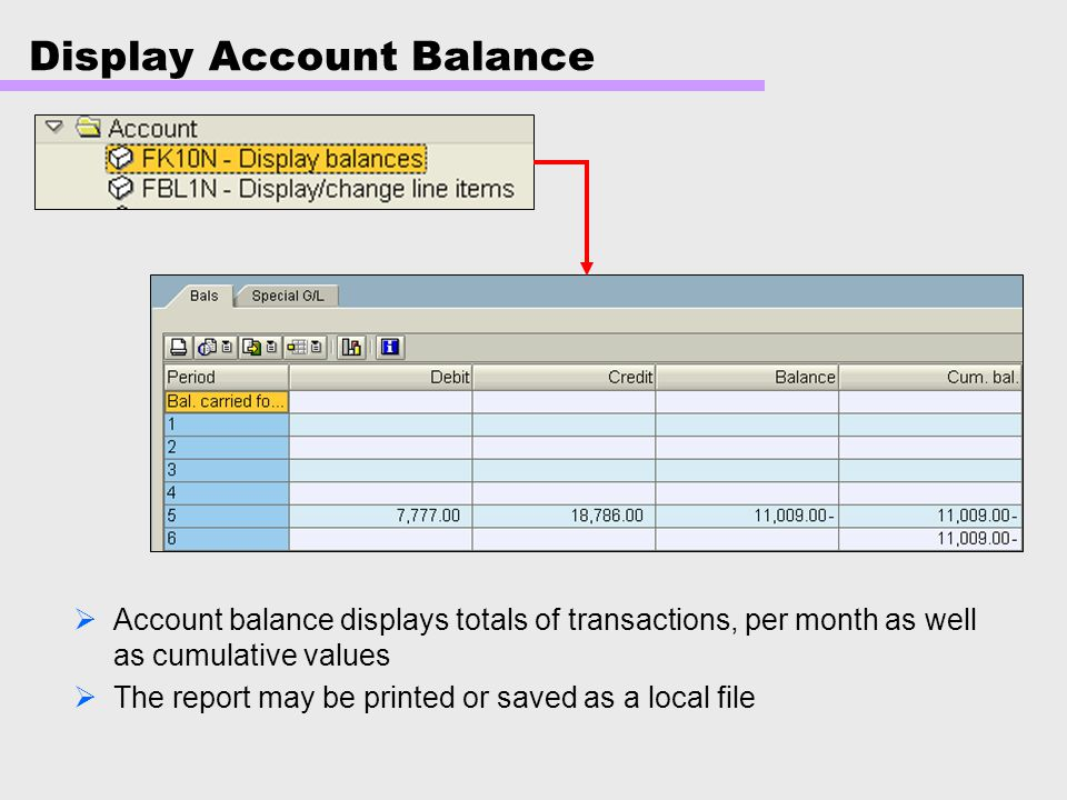Display Account Balance