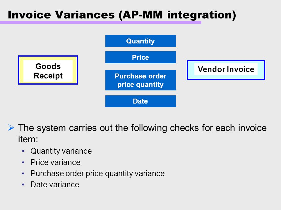 Invoice Variances (AP-MM integration)