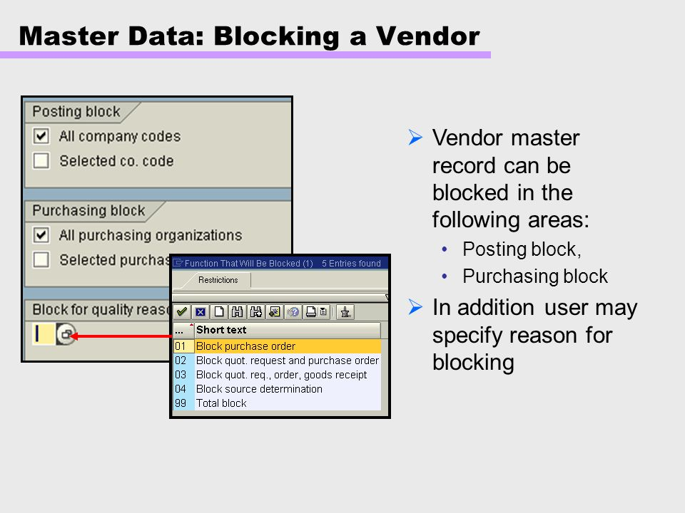 Master Data: Blocking a Vendor