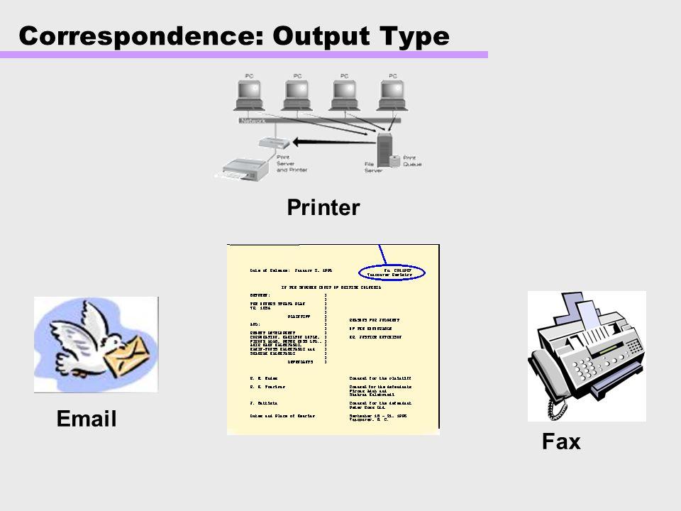 Correspondence: Output Type
