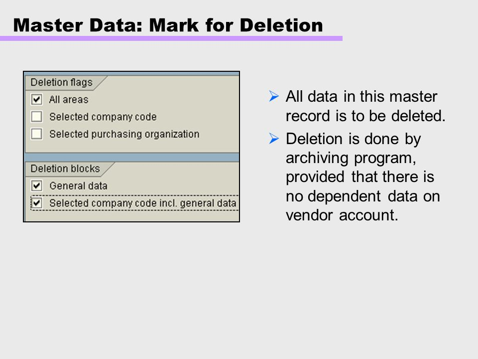 Master Data: Mark for Deletion