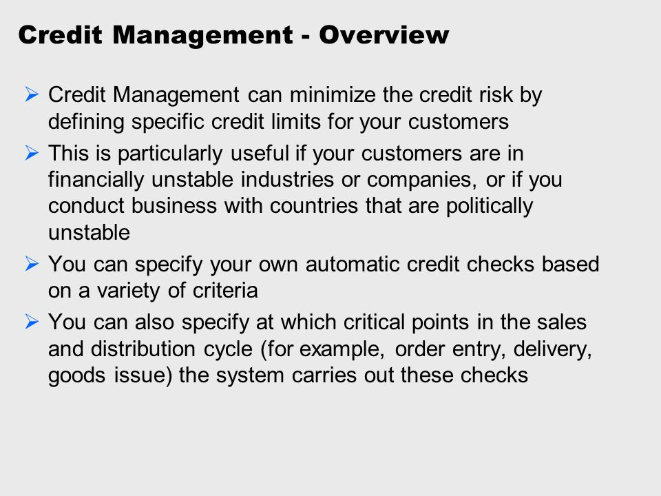Credit Management - Overview