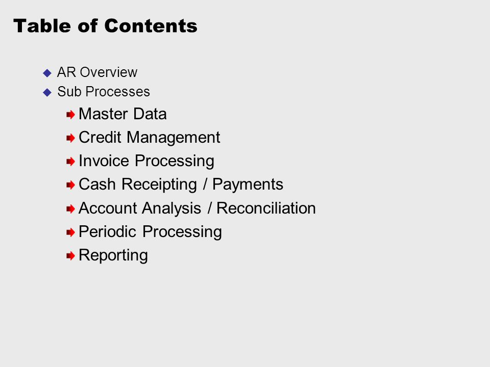Table of Contents Master Data Credit Management Invoice Processing