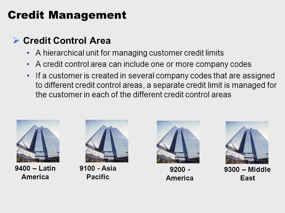 Credit Management Credit Control Area