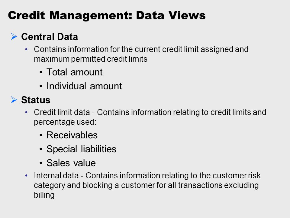 Credit Management: Data Views