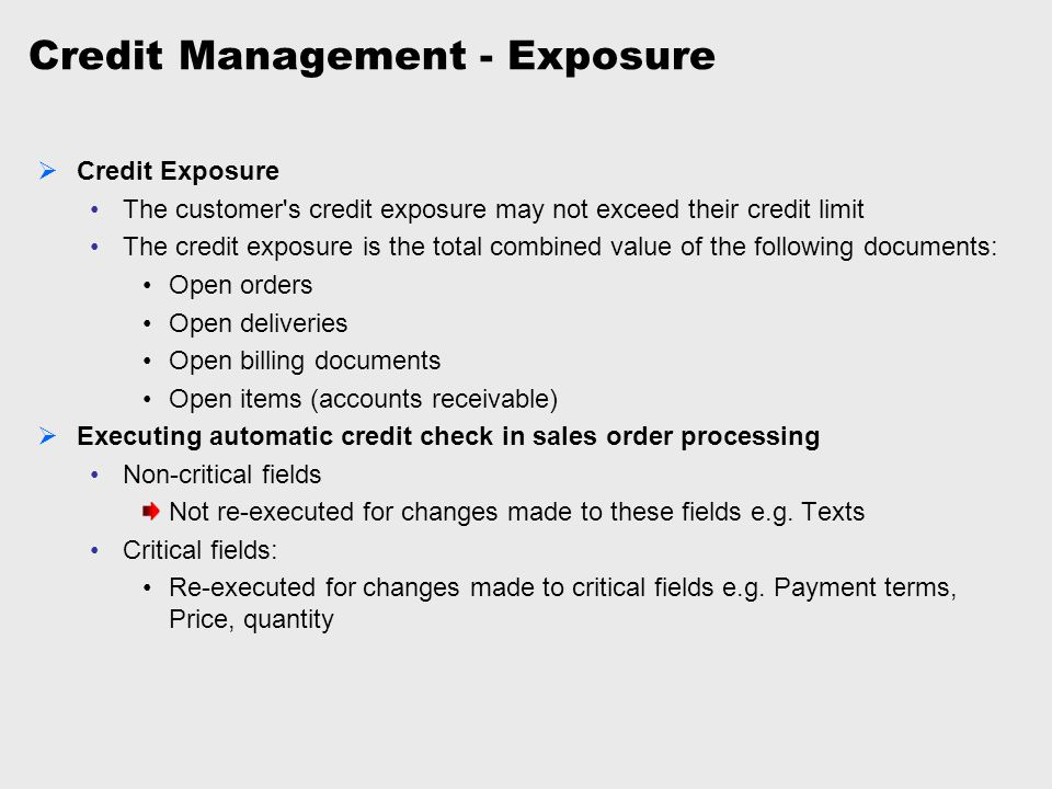 Credit Management - Exposure
