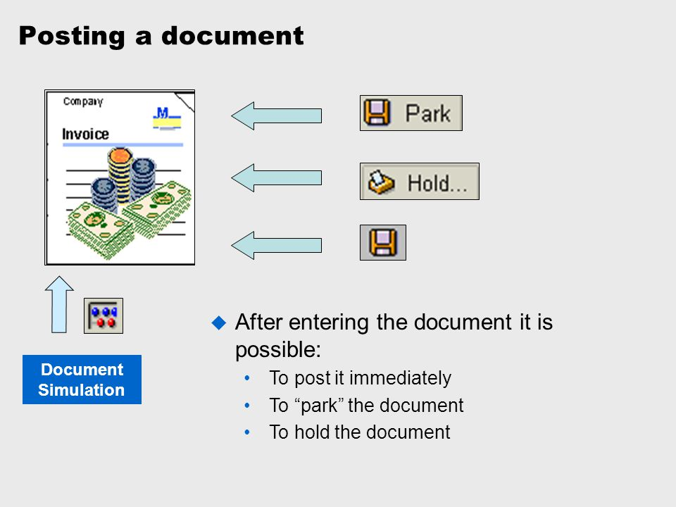Posting a document After entering the document it is possible: