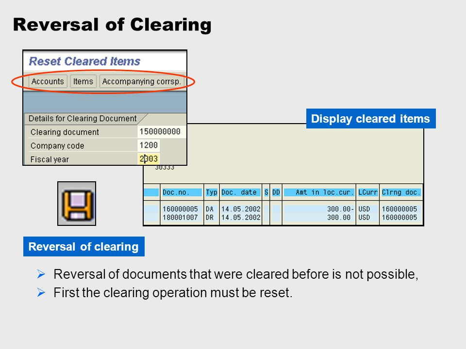 Reversal of Clearing Display cleared items. Reversal of clearing. Reversal of documents that were cleared before is not possible,