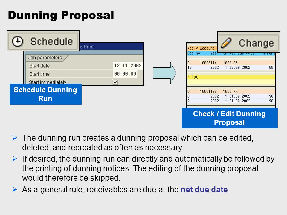 Check / Edit Dunning Proposal