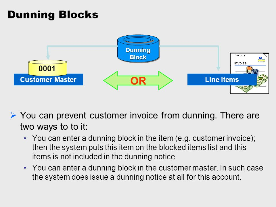 Dunning Blocks Dunning. Block. 0001. Customer Master. OR. Line Items.