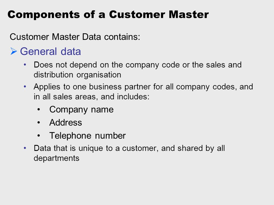 Components of a Customer Master