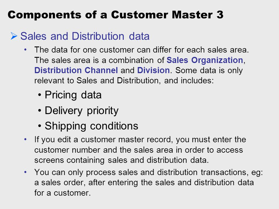 Components of a Customer Master 3