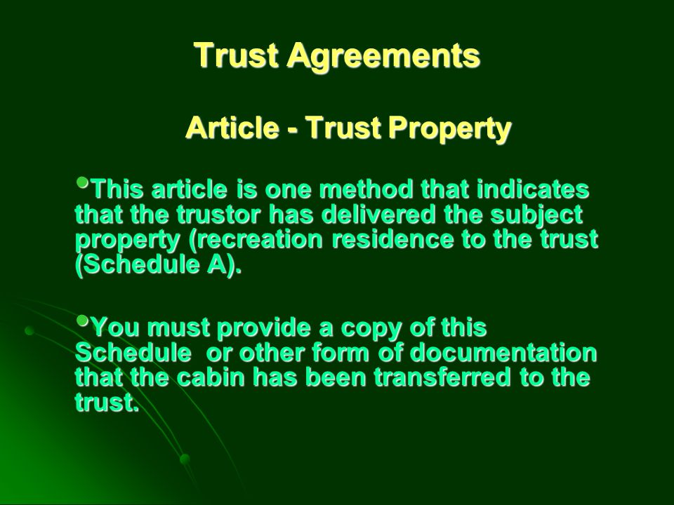 Article - Trust Property
