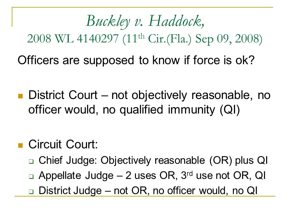 Buckley v. Haddock, 2008 WL 4140297 (11th Cir.(Fla.) Sep 09, 2008)