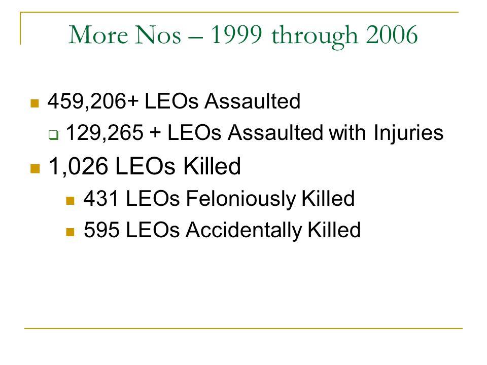 More Nos – 1999 through 2006 1,026 LEOs Killed 459,206+ LEOs Assaulted