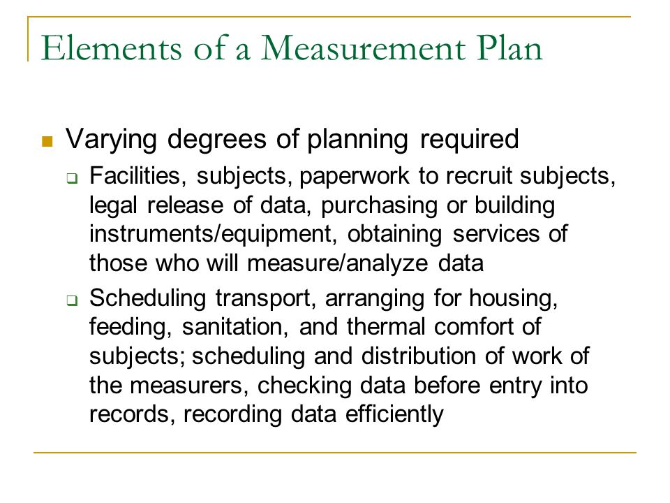 Elements of a Measurement Plan
