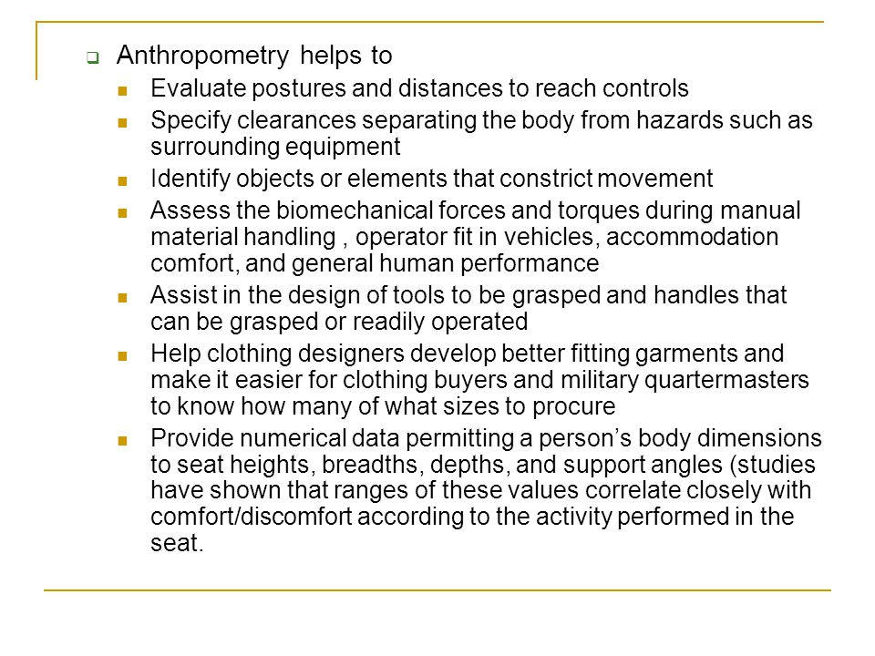 Anthropometry helps to