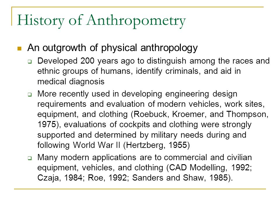 History of Anthropometry