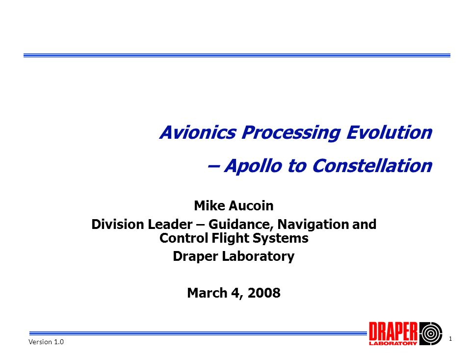 Avionics Processing Evolution – Apollo to Constellation