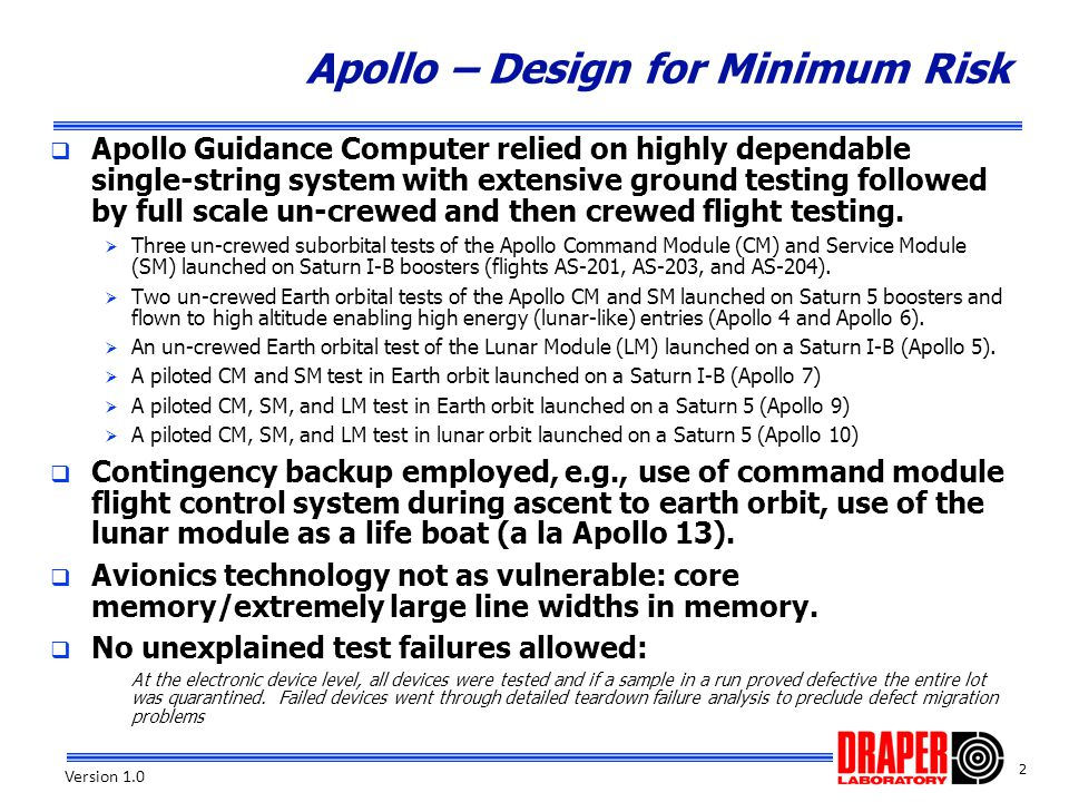 Apollo – Design for Minimum Risk