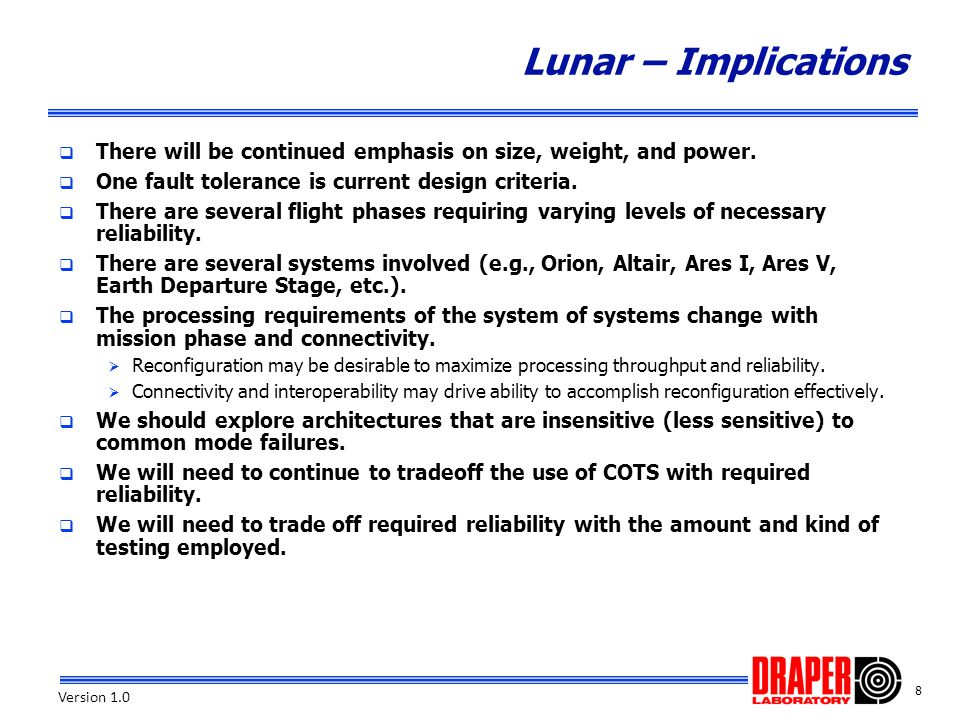 Lunar – Implications There will be continued emphasis on size, weight, and power. One fault tolerance is current design criteria.