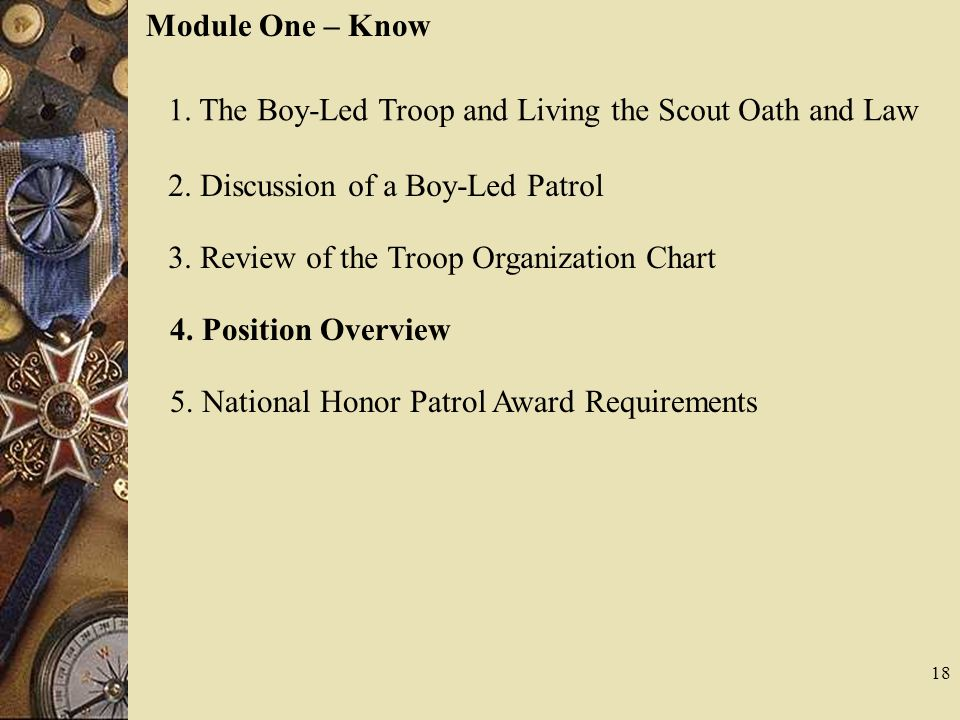 Module One – Know 1. The Boy-Led Troop and Living the Scout Oath and Law. 2. Discussion of a Boy-Led Patrol.