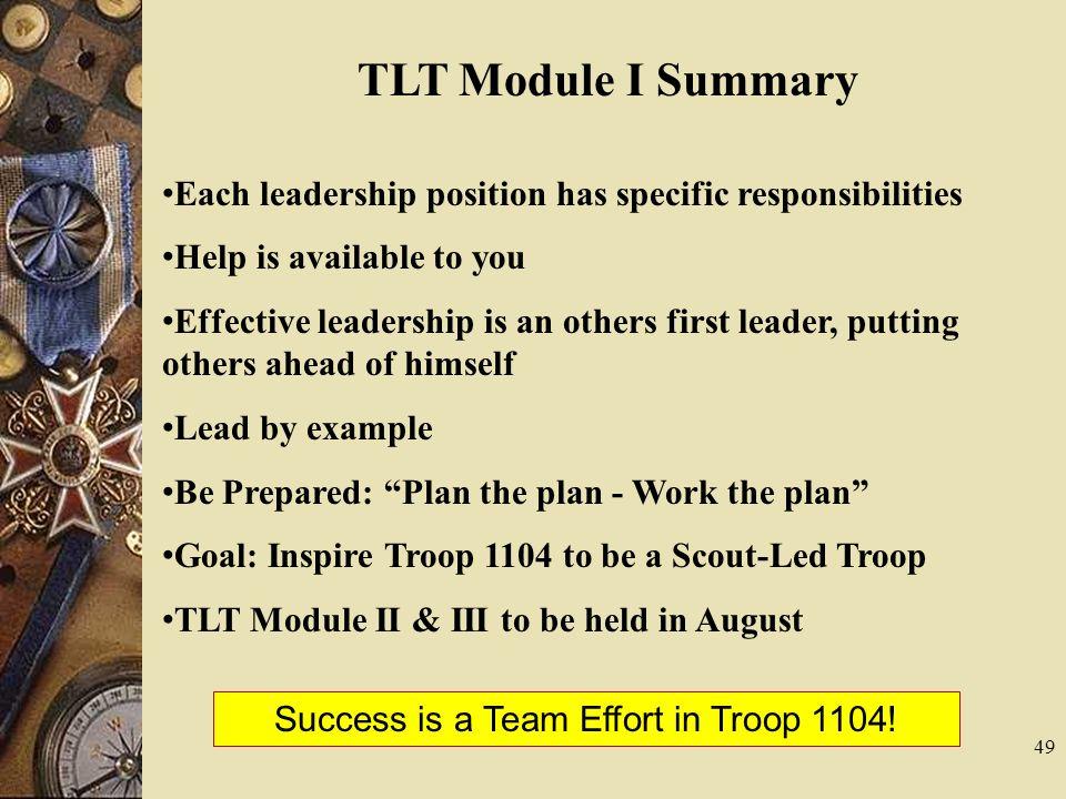 Success is a Team Effort in Troop 1104!