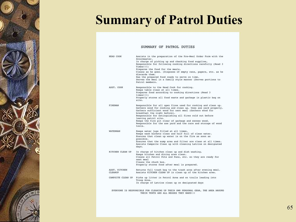 Summary of Patrol Duties
