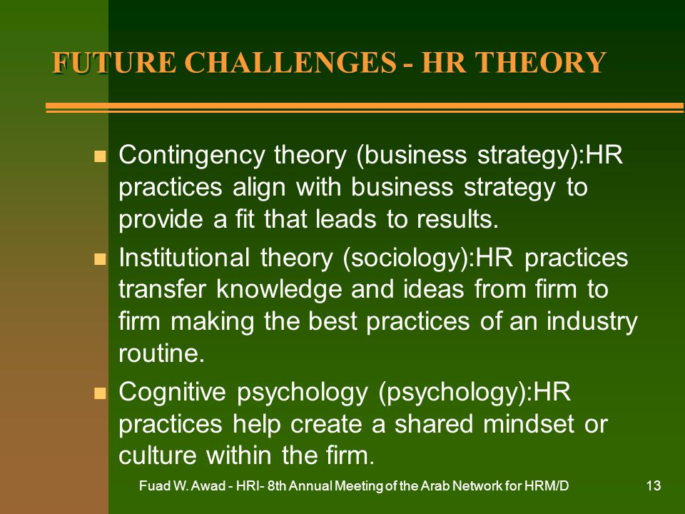 FUTURE CHALLENGES - HR THEORY