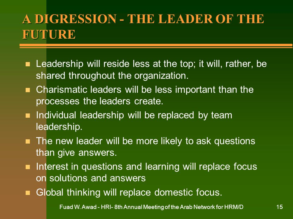 A DIGRESSION - THE LEADER OF THE FUTURE