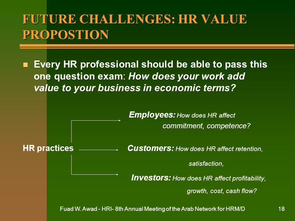 FUTURE CHALLENGES: HR VALUE PROPOSTION