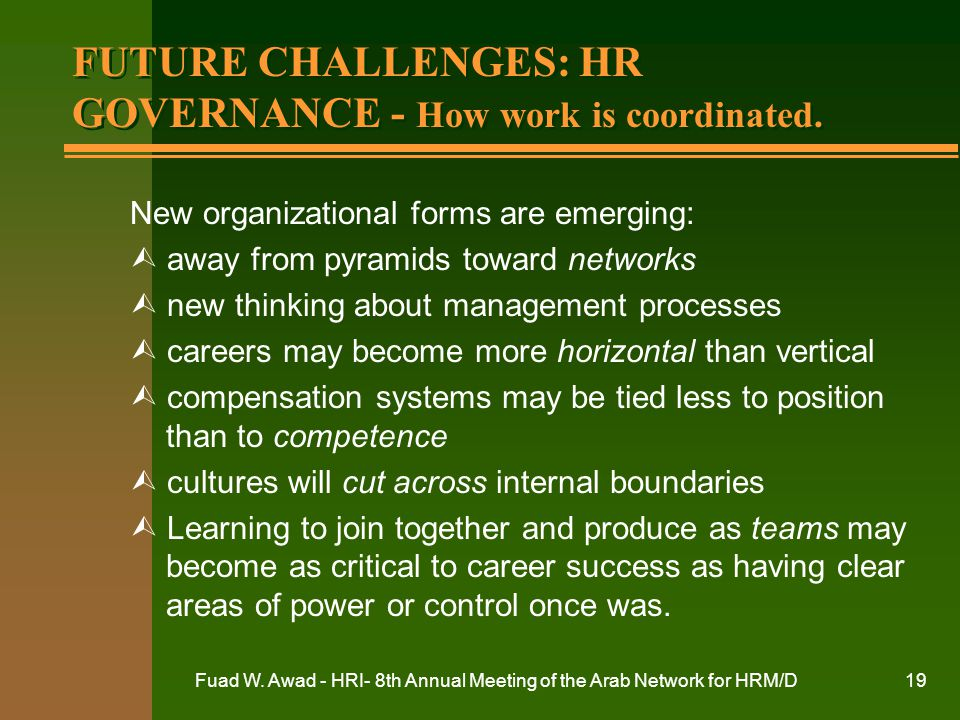 FUTURE CHALLENGES: HR GOVERNANCE - How work is coordinated.