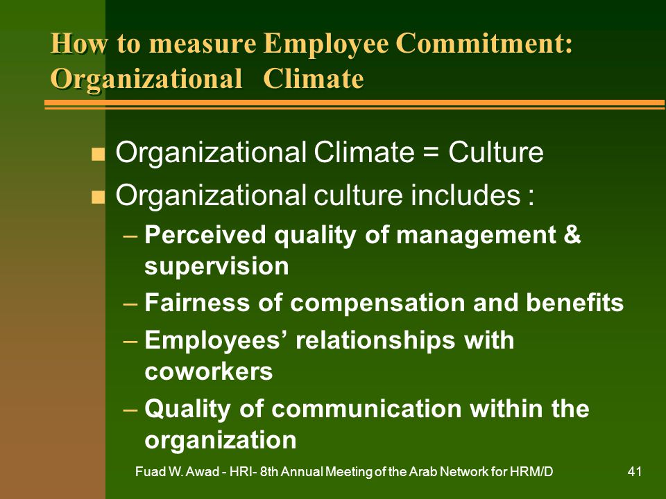 How to measure Employee Commitment: Organizational Climate