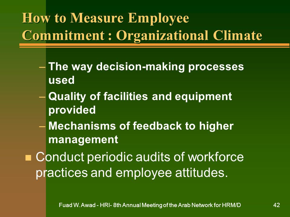 How to Measure Employee Commitment : Organizational Climate
