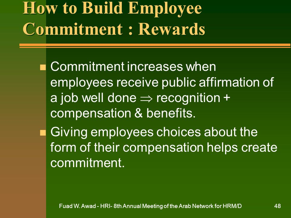 How to Build Employee Commitment : Rewards