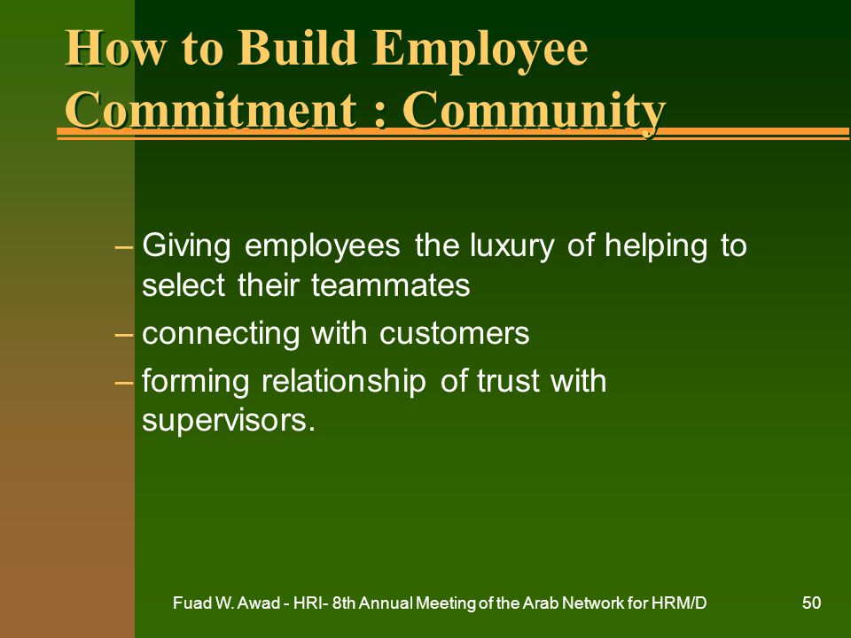 How to Build Employee Commitment : Community