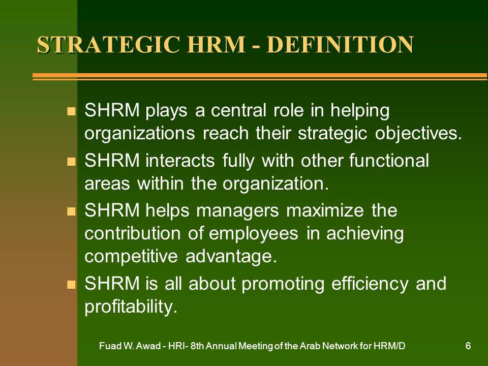 STRATEGIC HRM - DEFINITION