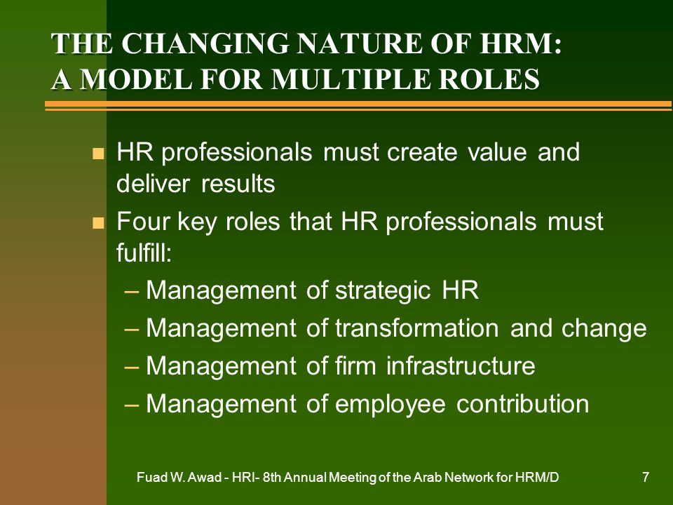 THE CHANGING NATURE OF HRM: A MODEL FOR MULTIPLE ROLES