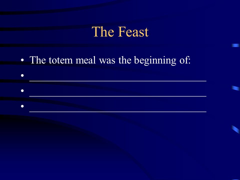 The Feast The totem meal was the beginning of: