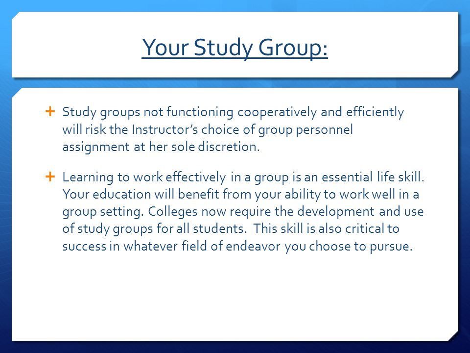 Your Study Group: