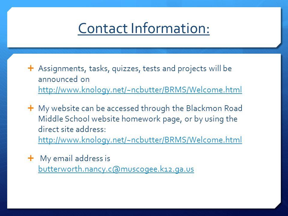 Blackmon road middle school homework