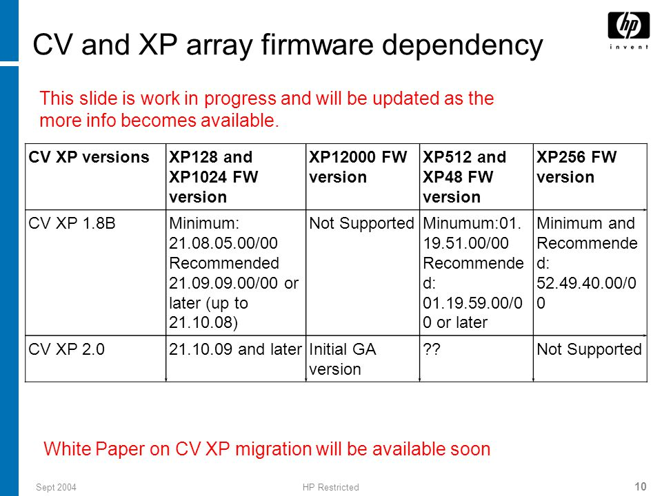 CV and XP array firmware dependency