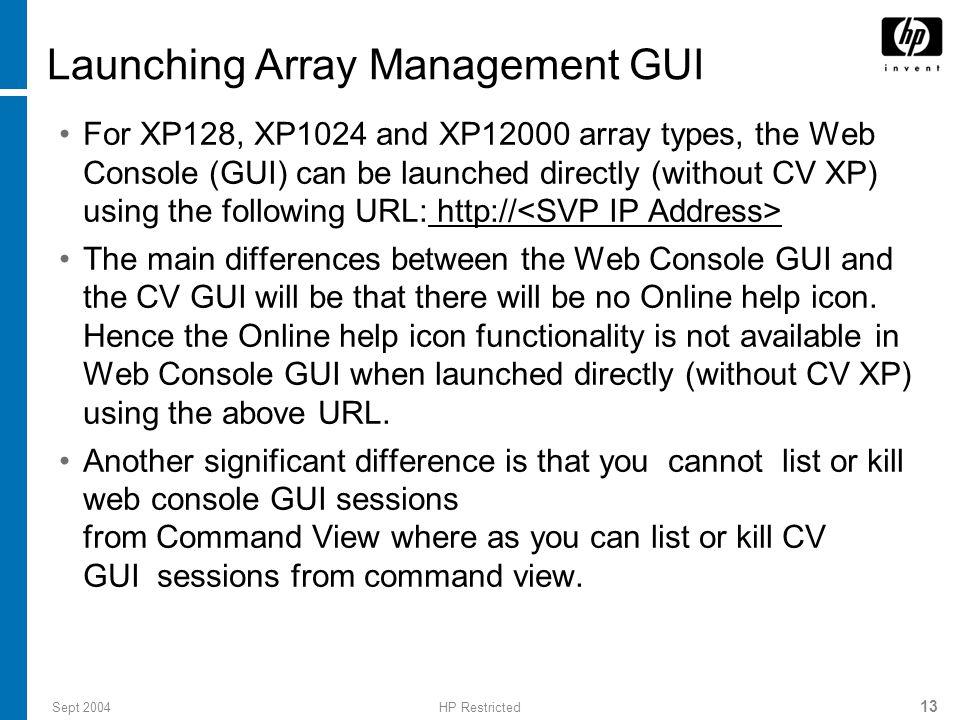 Launching Array Management GUI