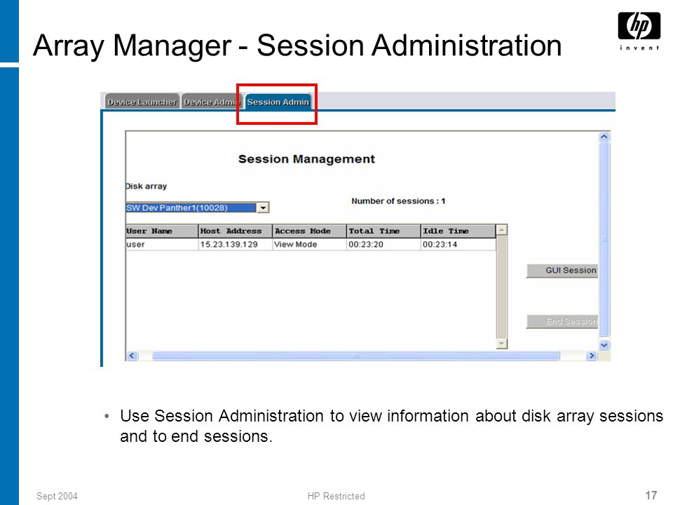 Array Manager - Session Administration