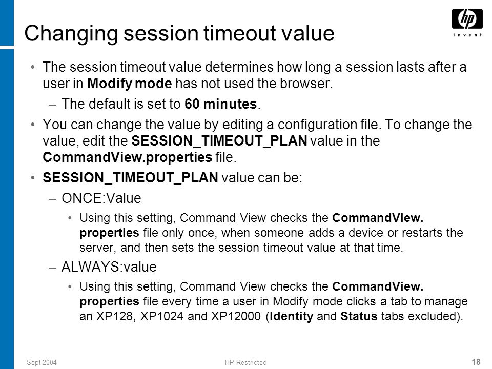 Changing session timeout value