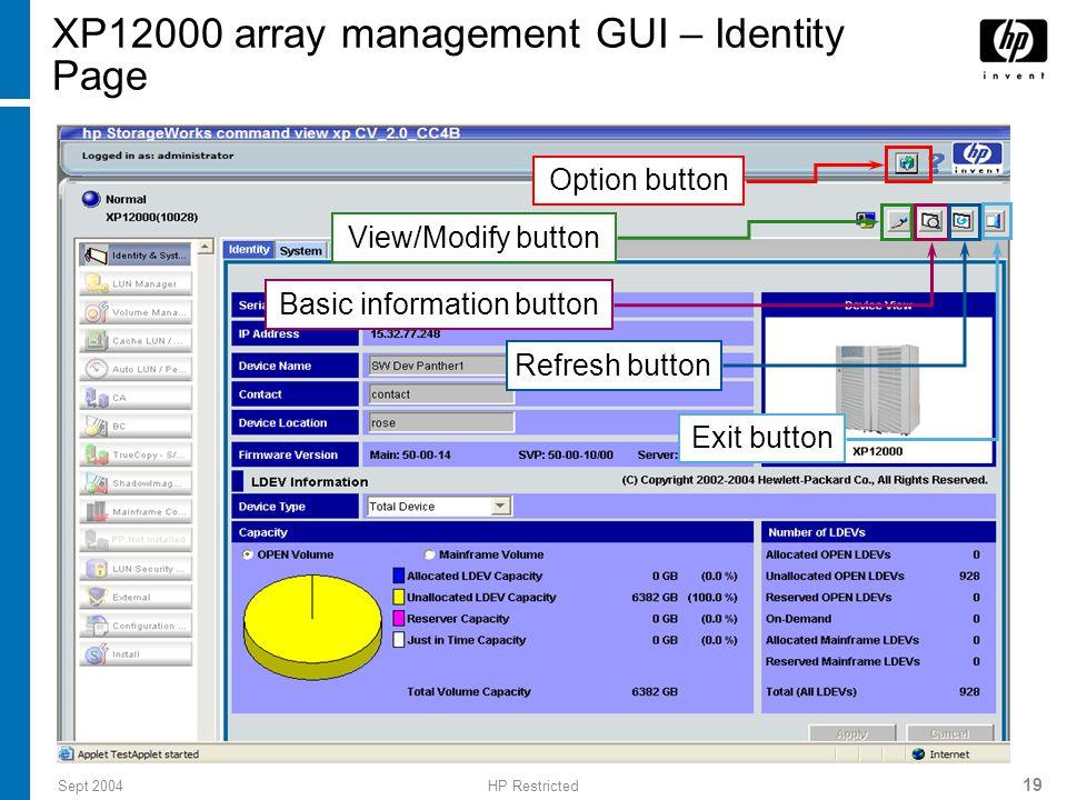XP12000 array management GUI – Identity Page