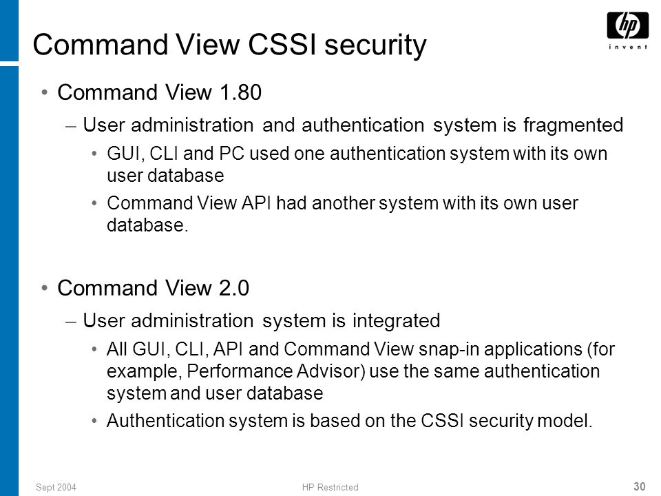 Command View CSSI security