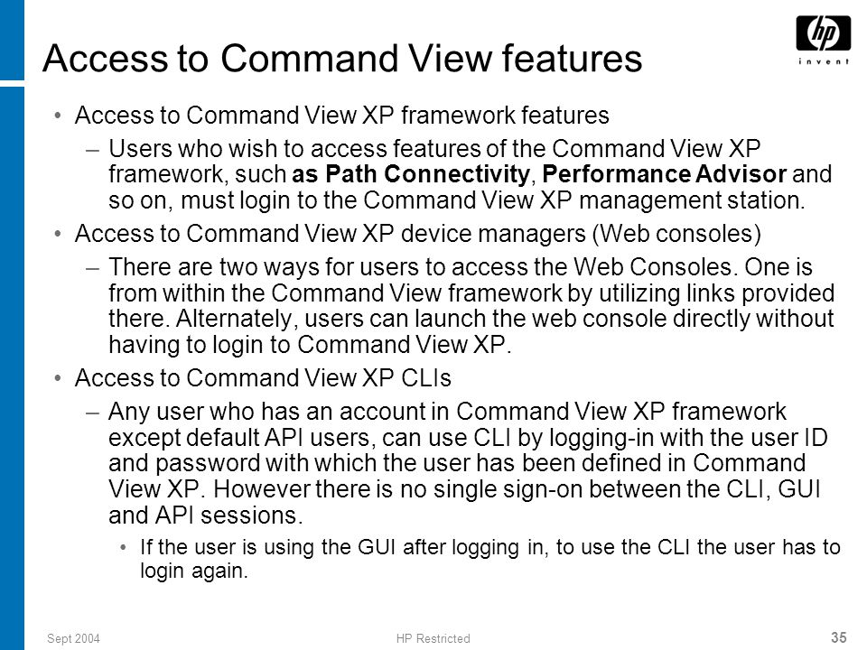 Access to Command View features